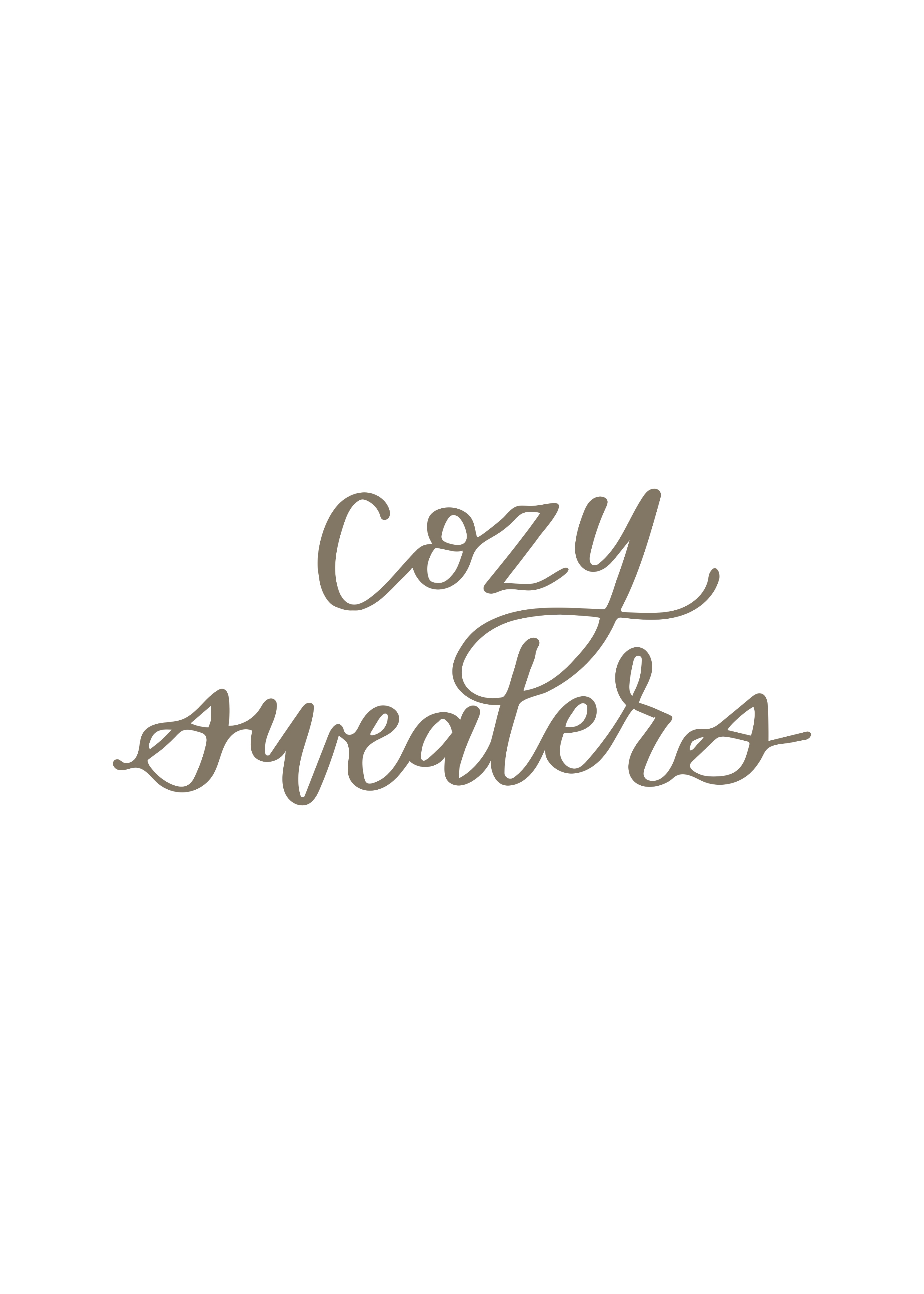 """cozy sweaters"" calligraphy"