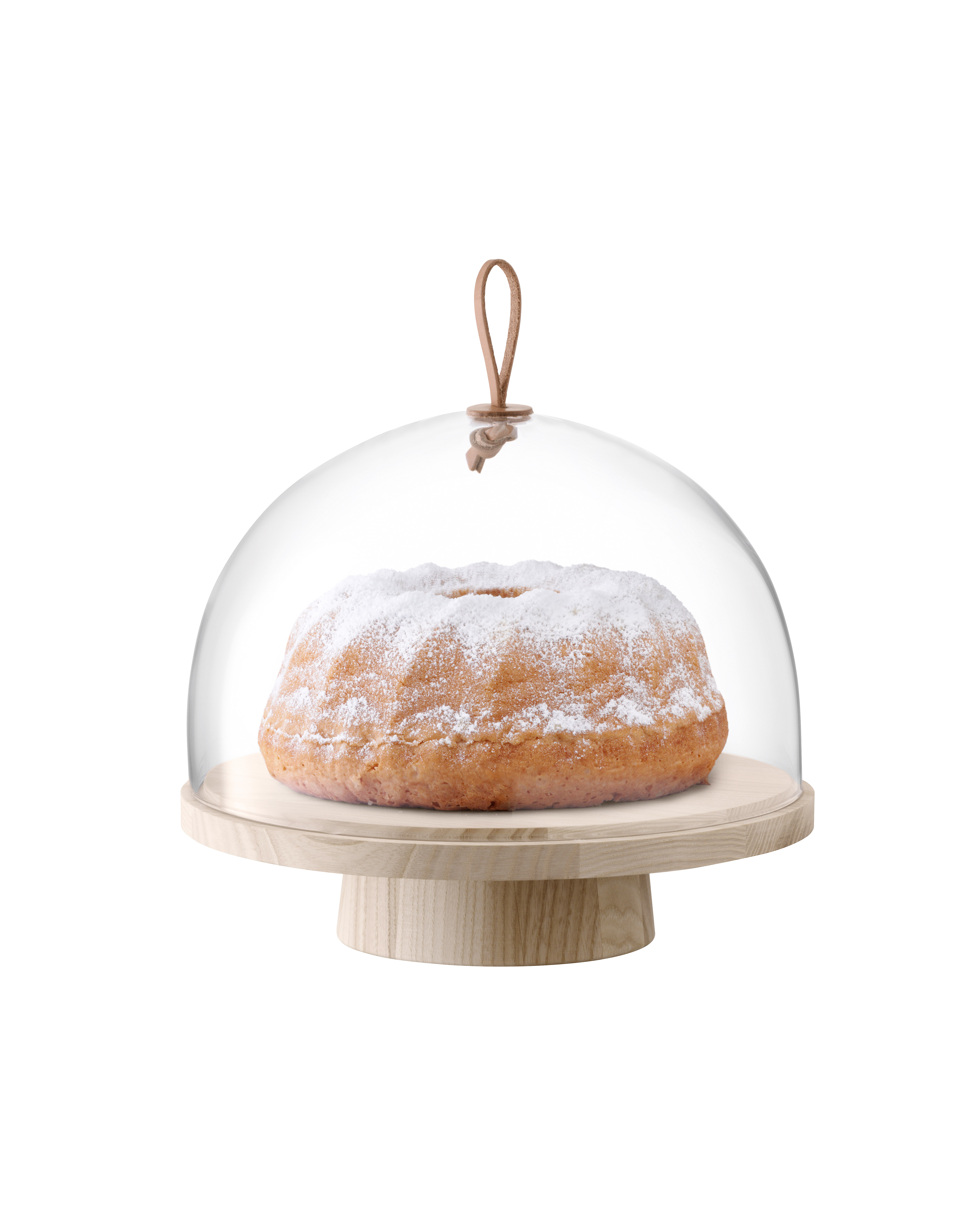 cake stand dome with leather strap
