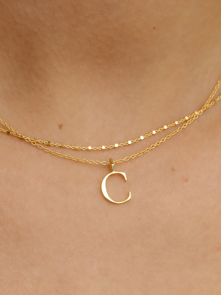 bride gift initial charm necklace