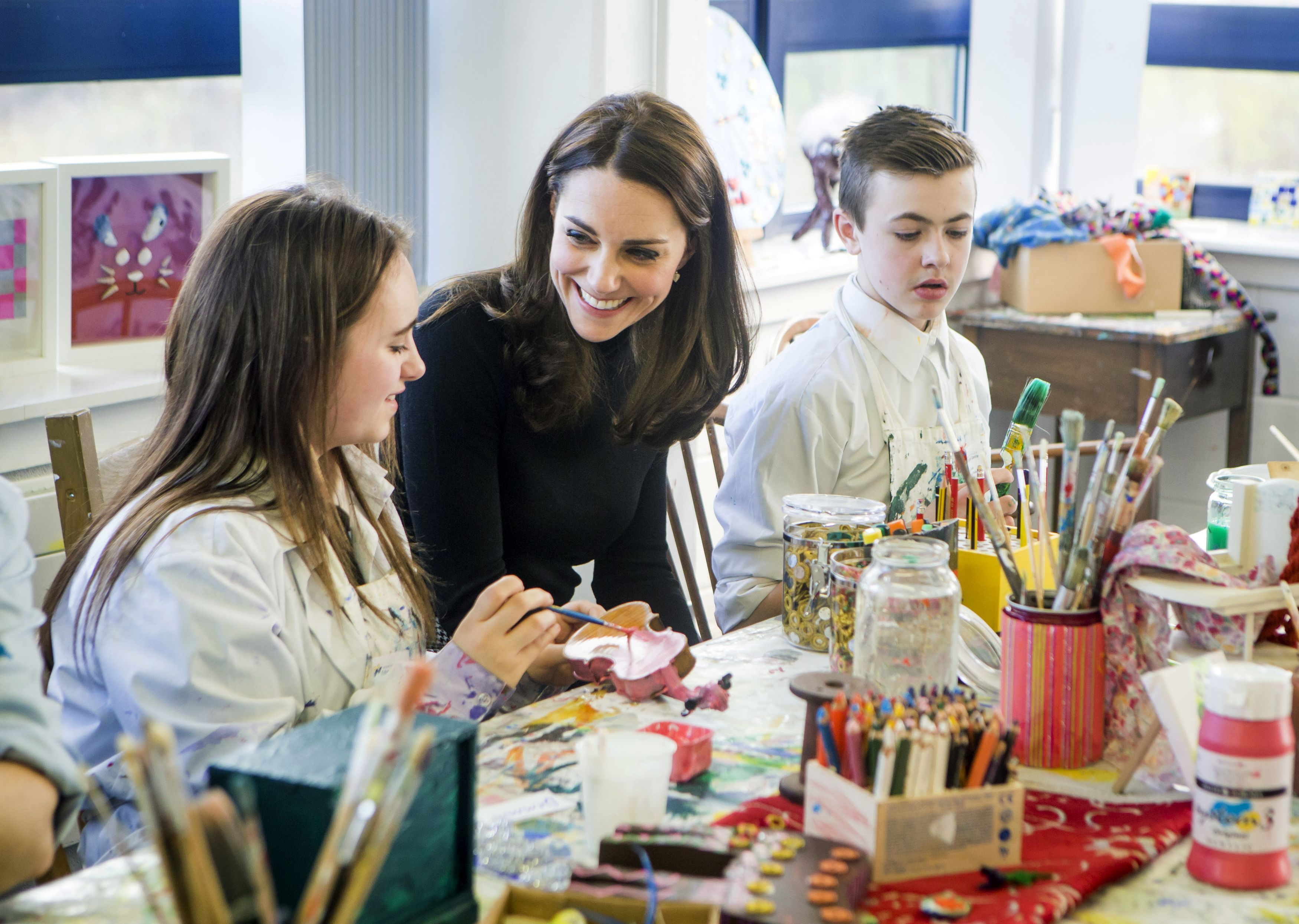 Kate Middleton creating art with students