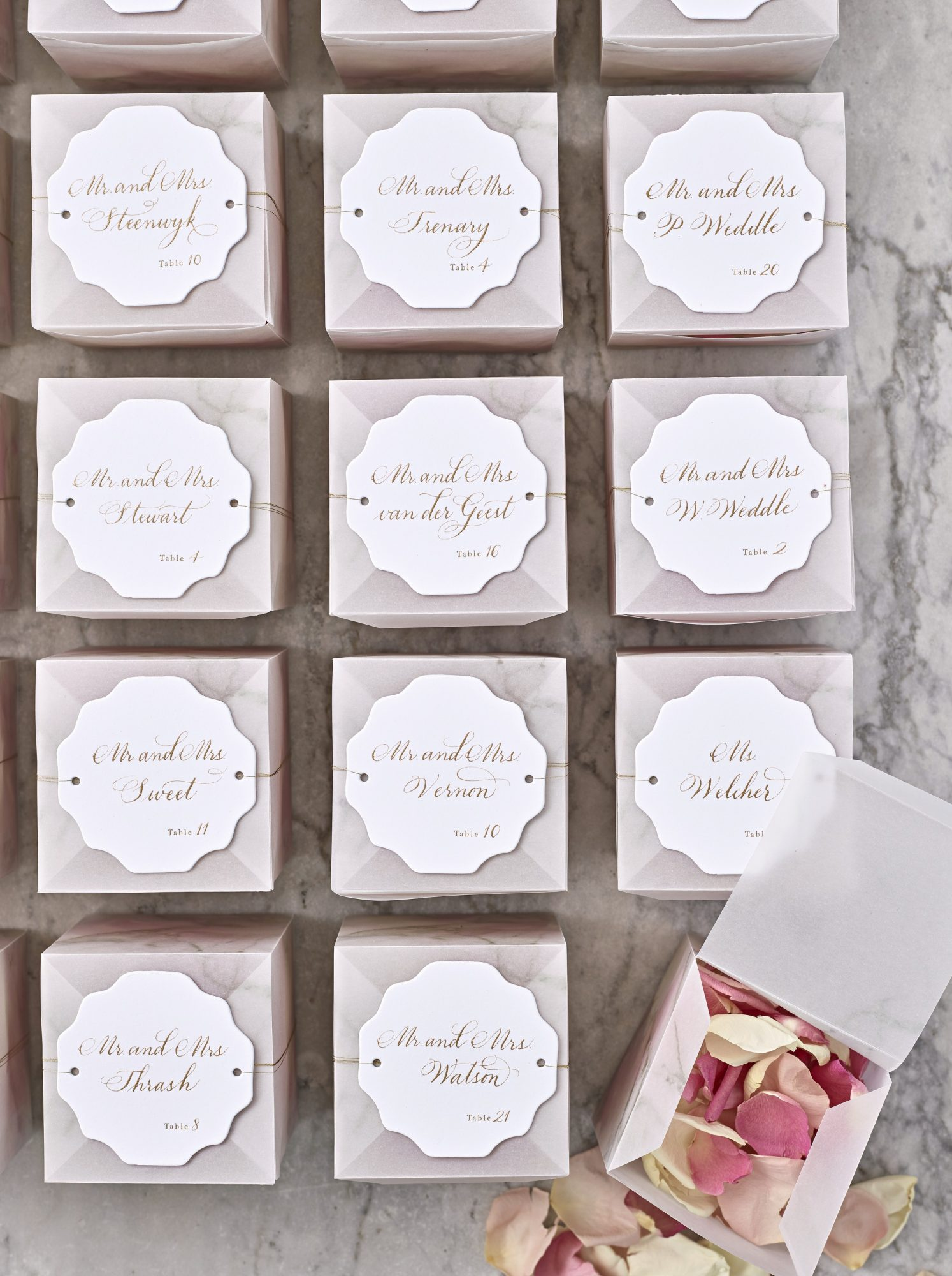 joyann jeremy wedding confetti escort cards