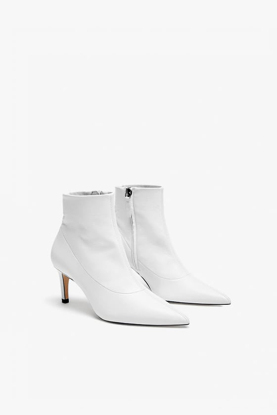 white bridal booties zara leather ankle boot heel