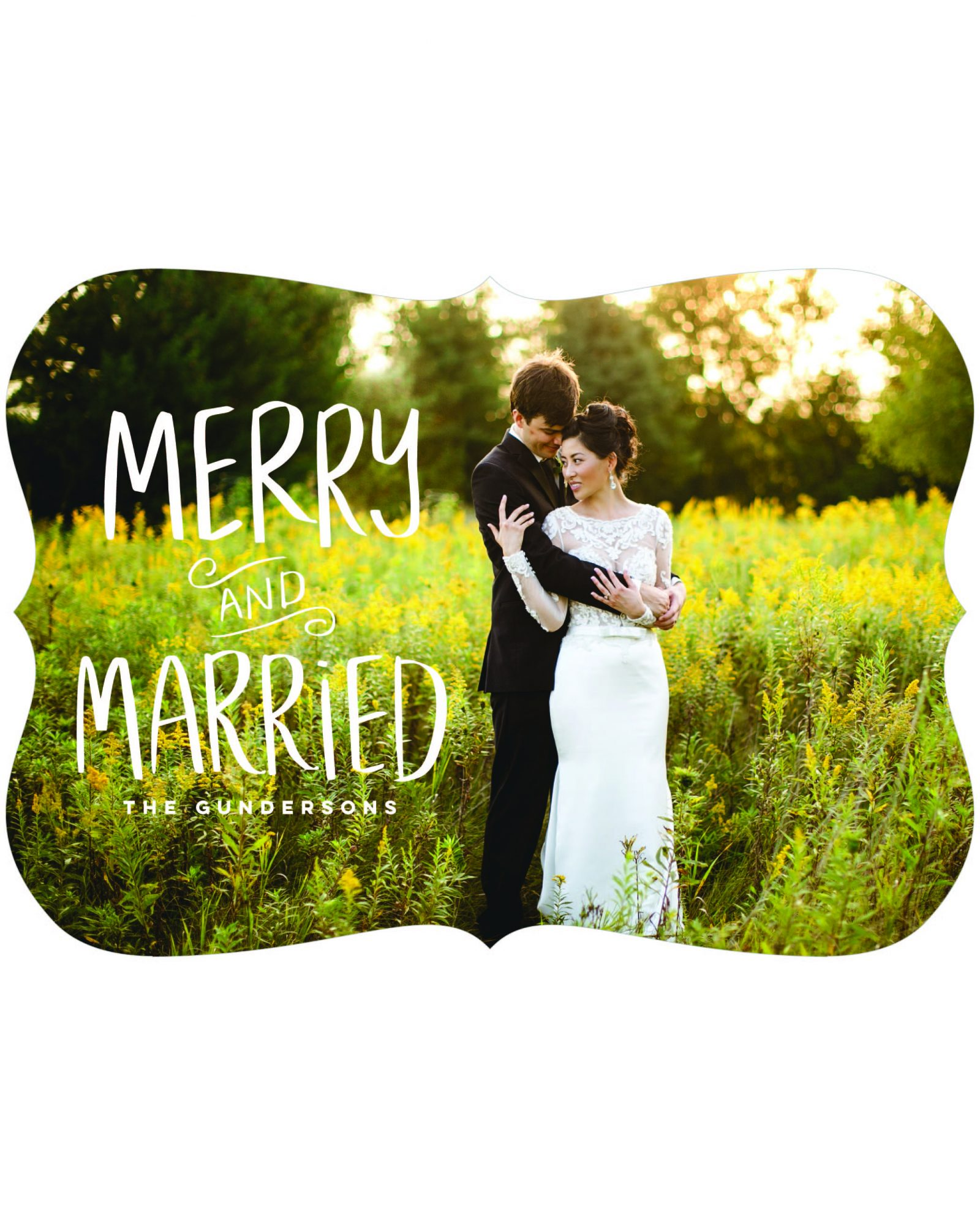 newlywed holiday card merry together
