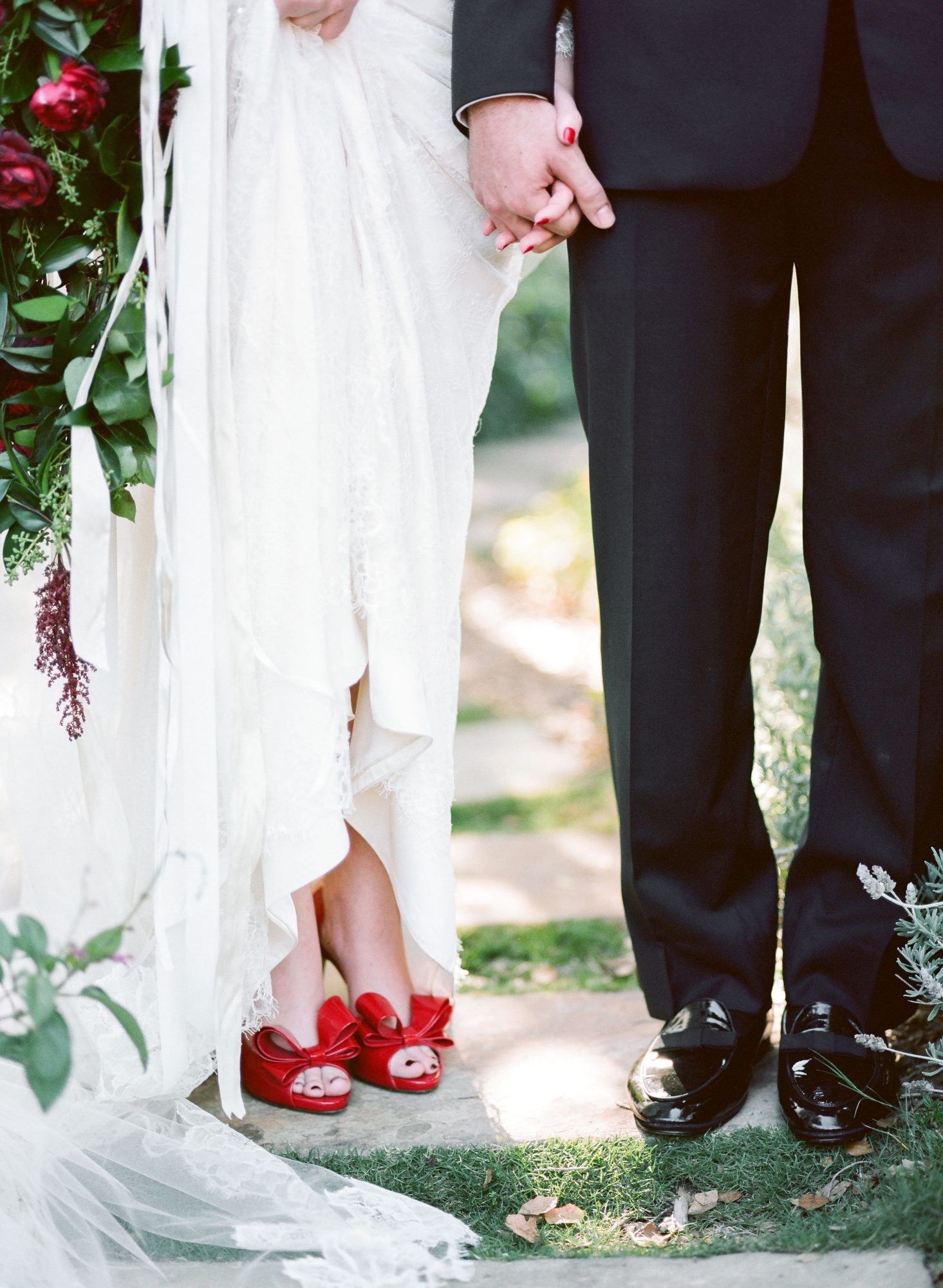 bride with red shoes