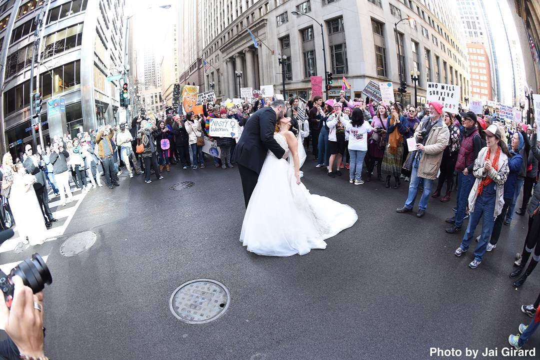 Bride and Groom at Chicago Women's March
