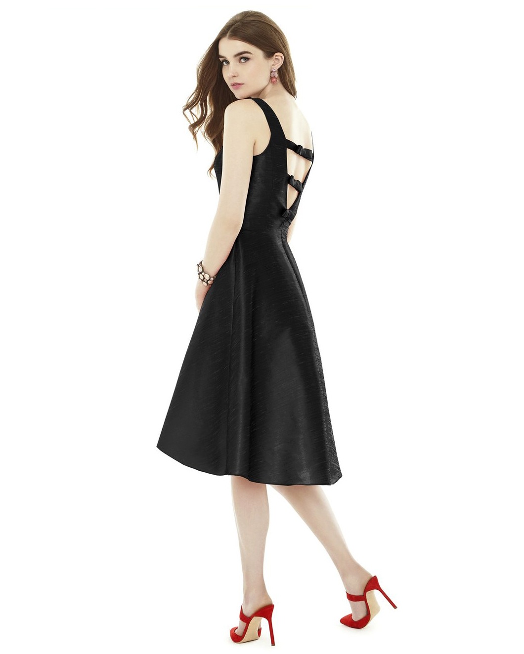 winter bridesmaid dress alfred sung bowback black