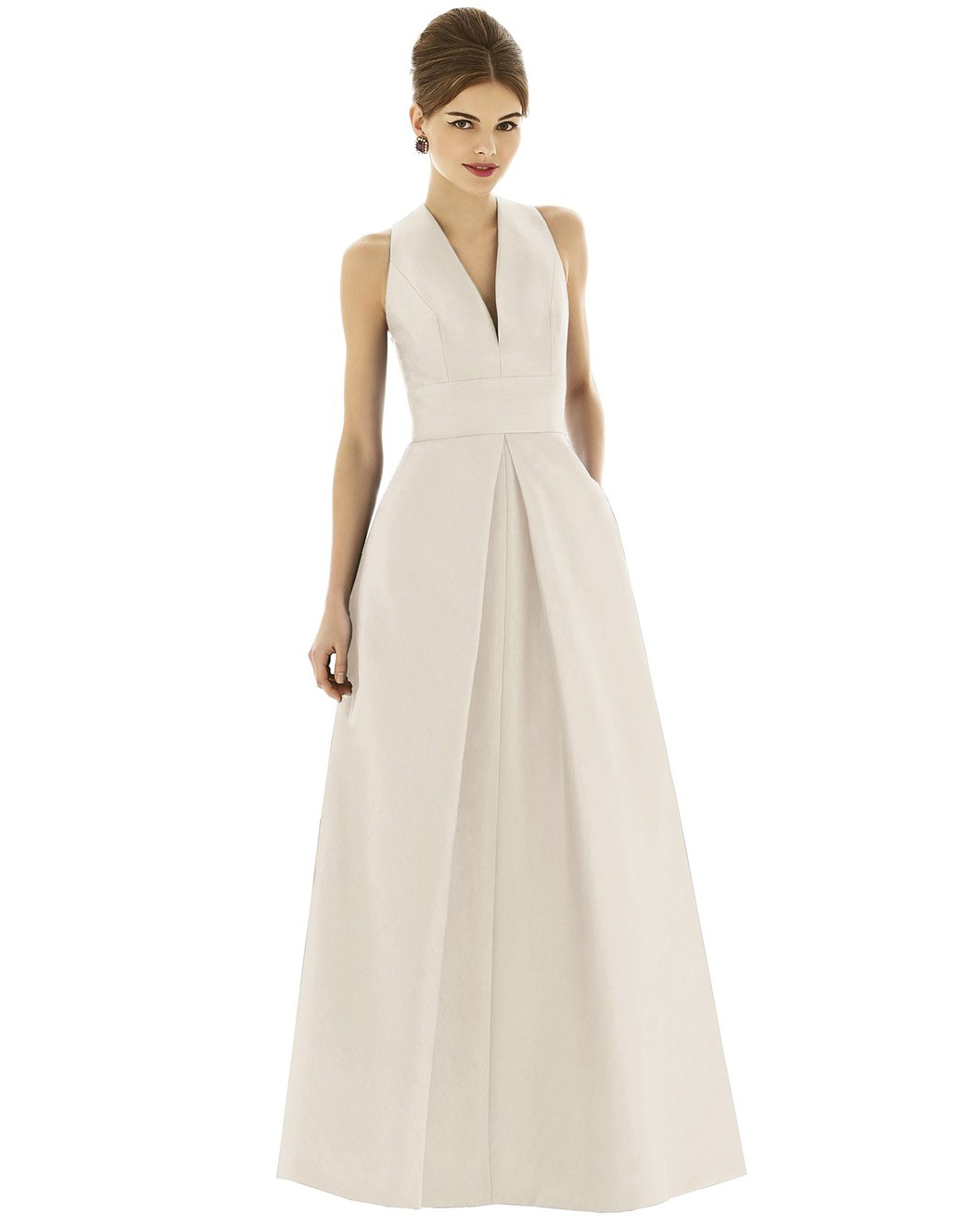 winter bridesmaid dress alfred sung dupioni white