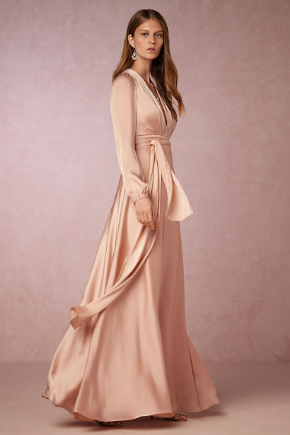 winter bridesmaid dress bhldn henrietta blush