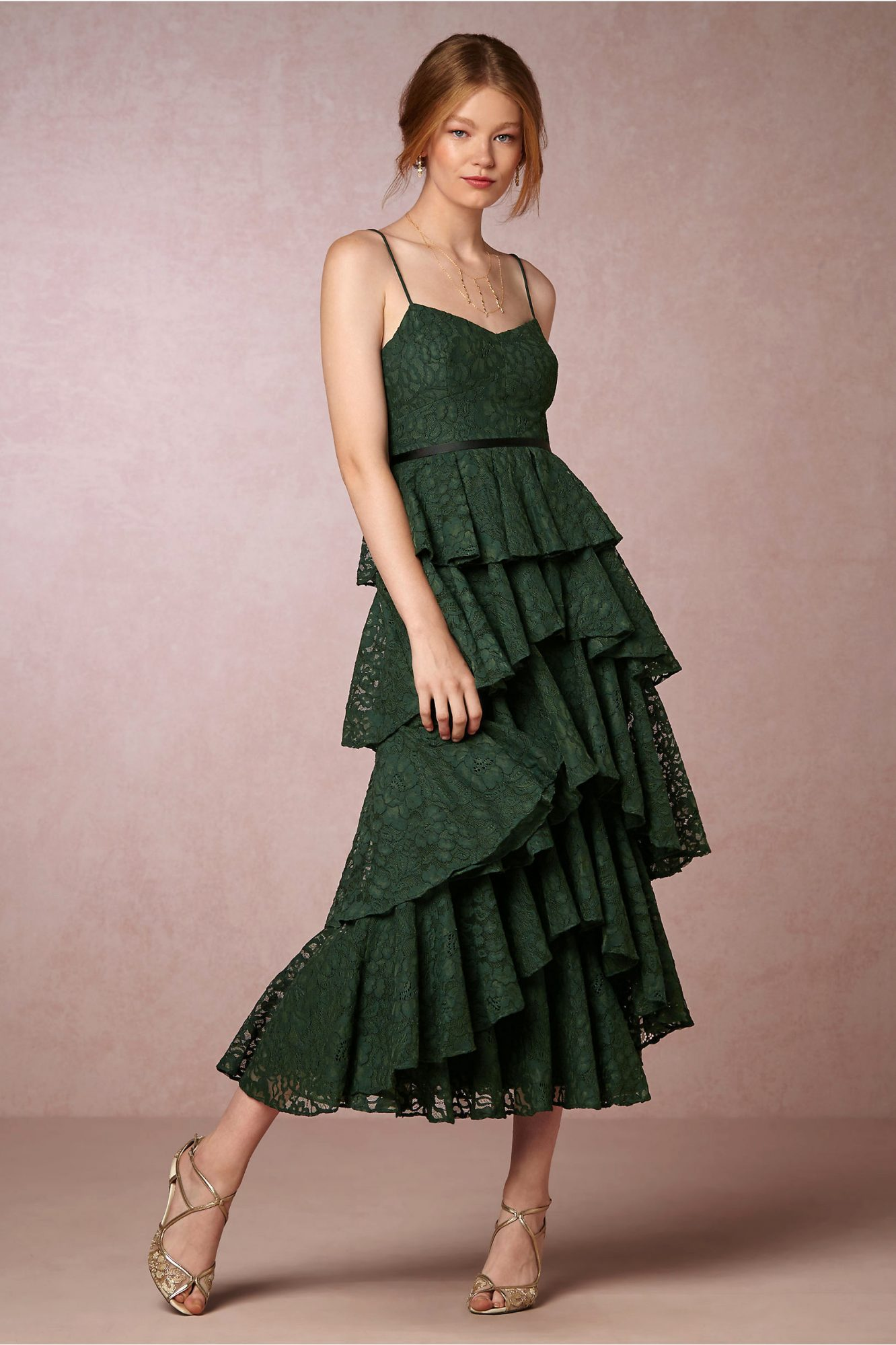 winter bridesmaid dress bhldn lucy emerald tiered