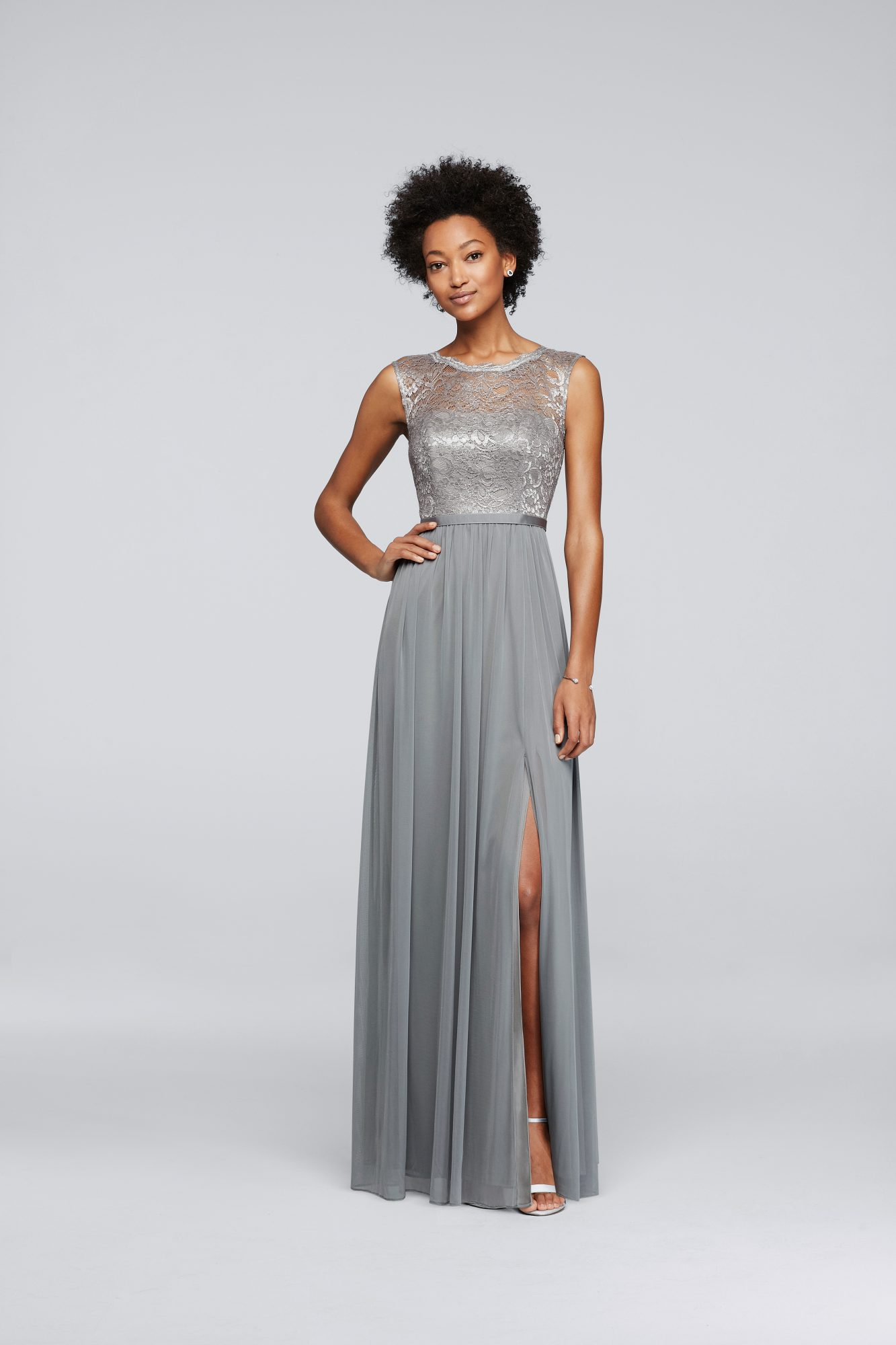 winter bridesmaid dress davids bridal metallic