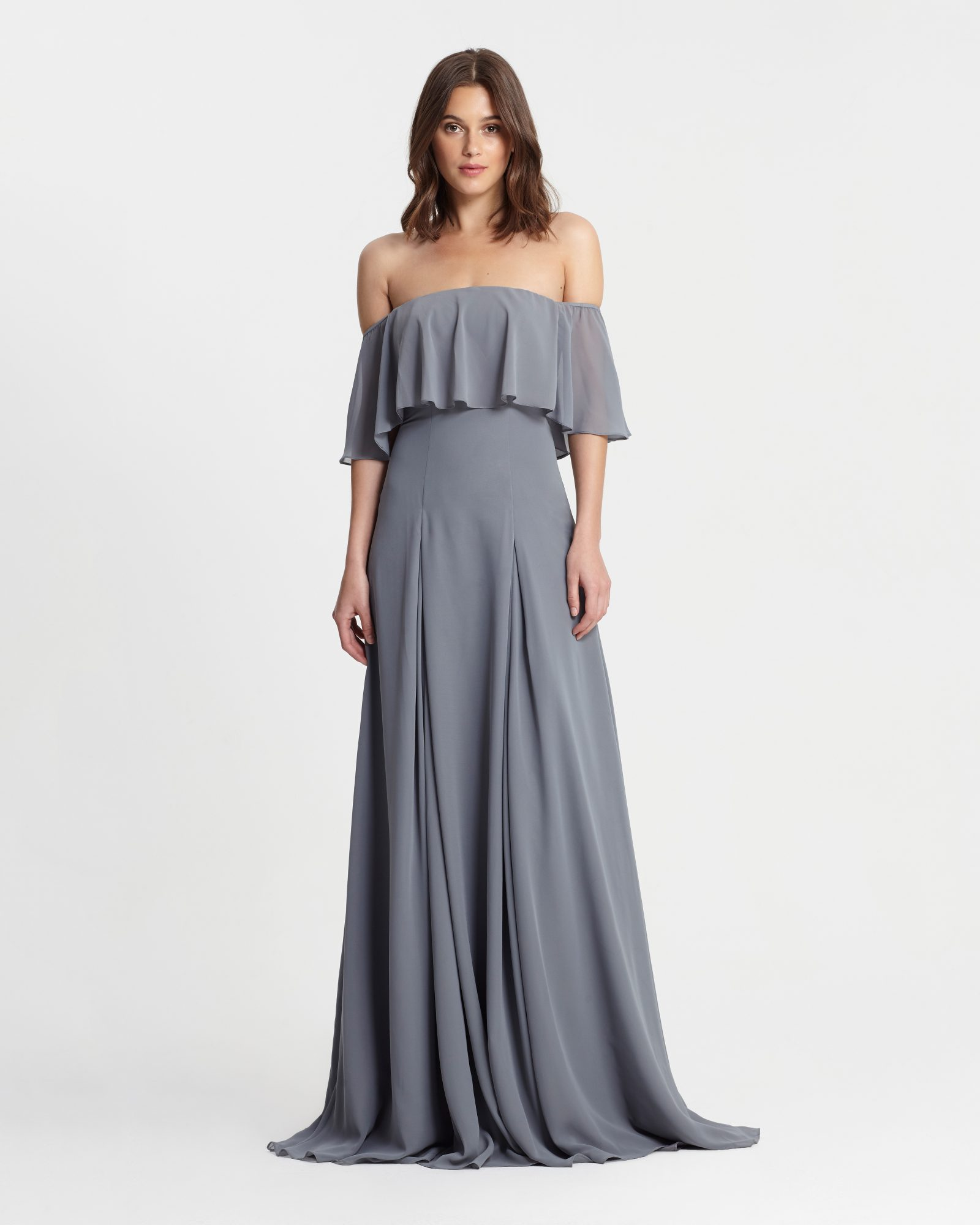 winter bridesmaid dress monique lhuillier off shouler steel