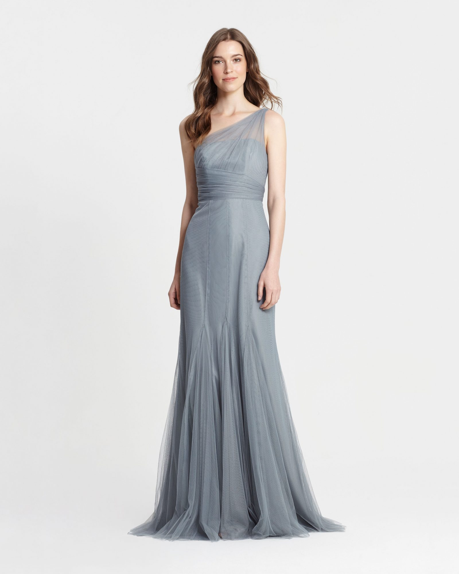 winter bridesmaid dress monique lhuillier sea one shoulder