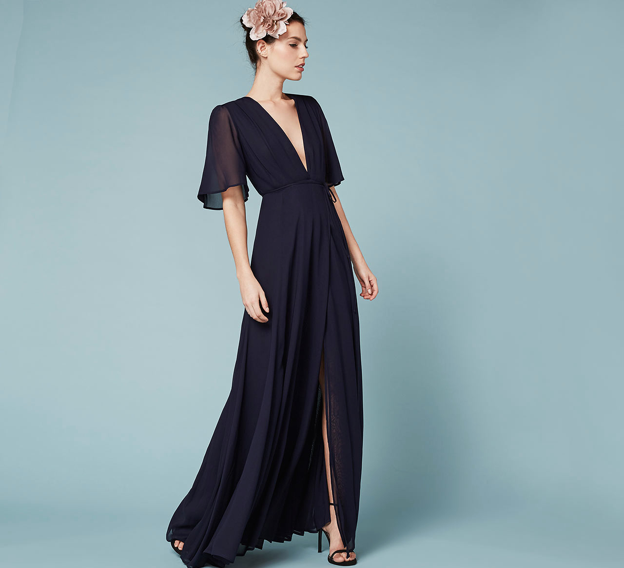 winter bridesmaid dress reformation catalina navy chiffon