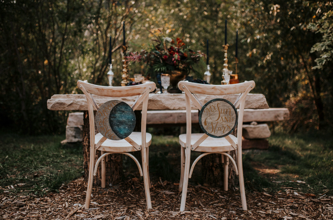 celestial wedding chair signs