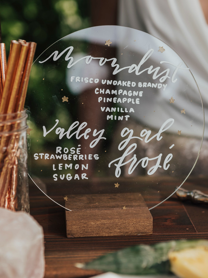 celestial wedding drink menu