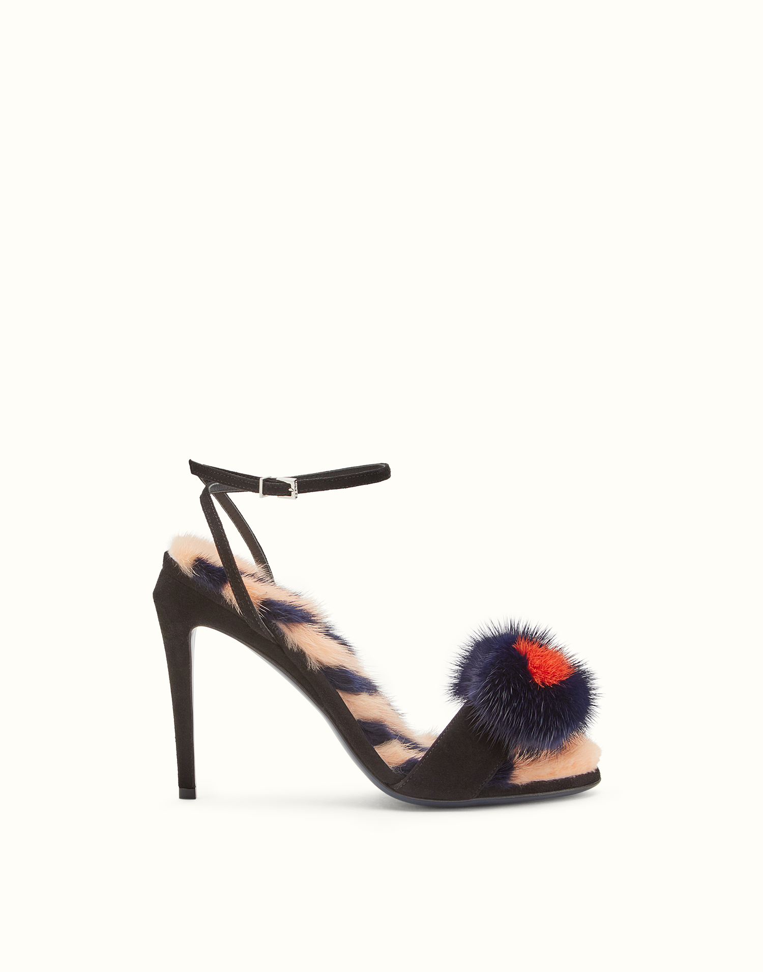 fendi sandals black suede fur