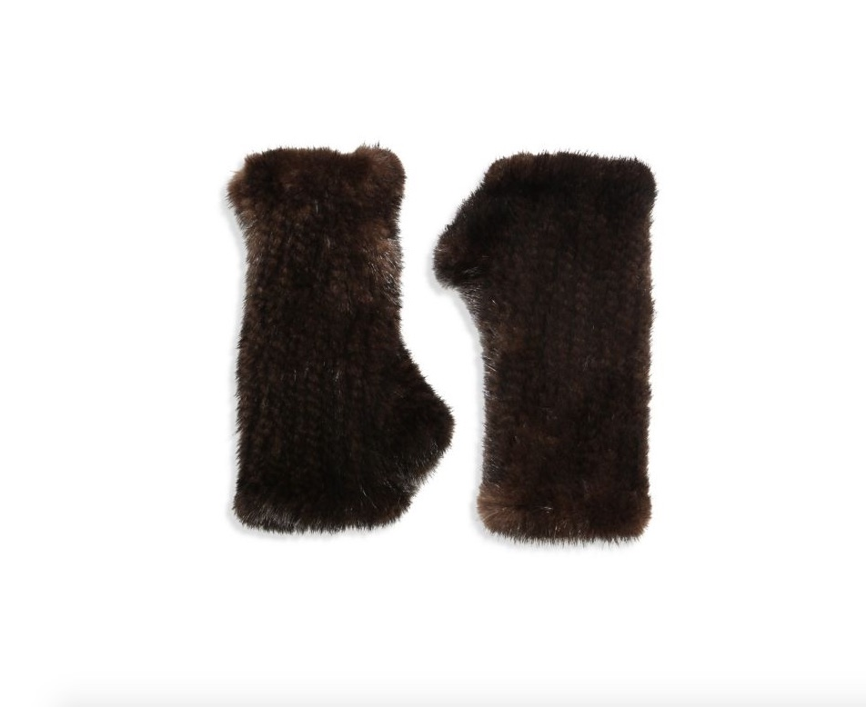 surrel fingerless mink gloves