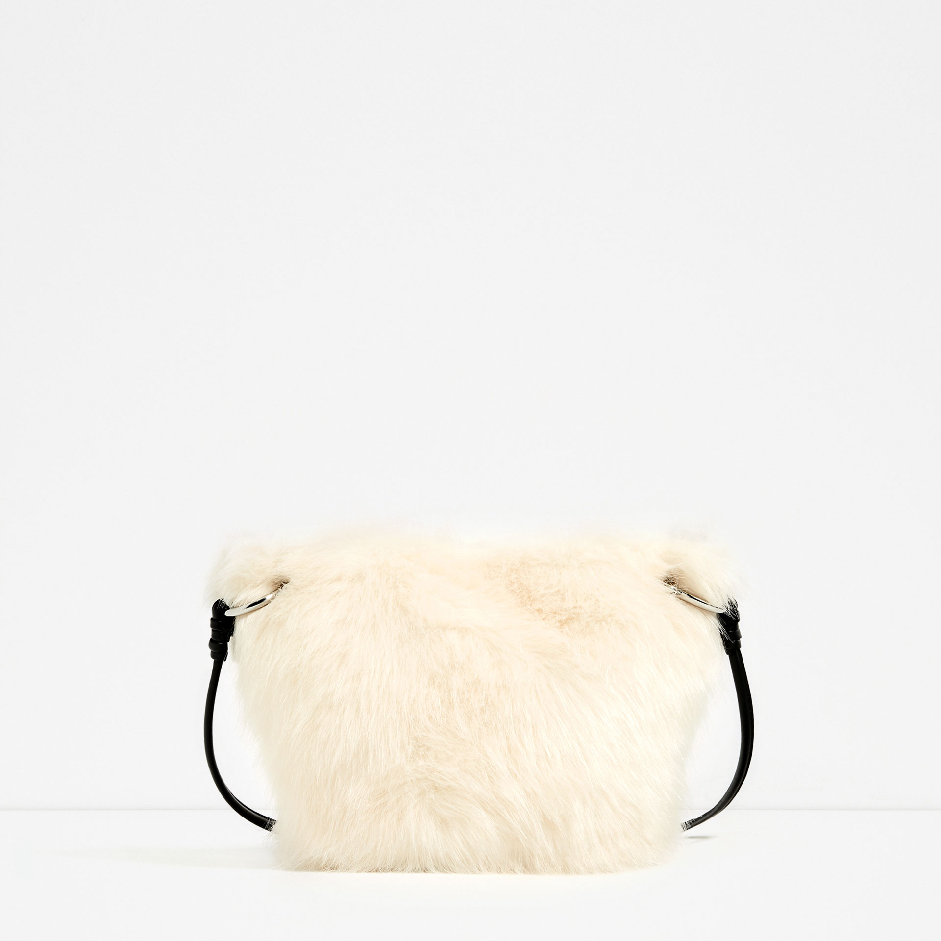 zara faux fur crossbody bag