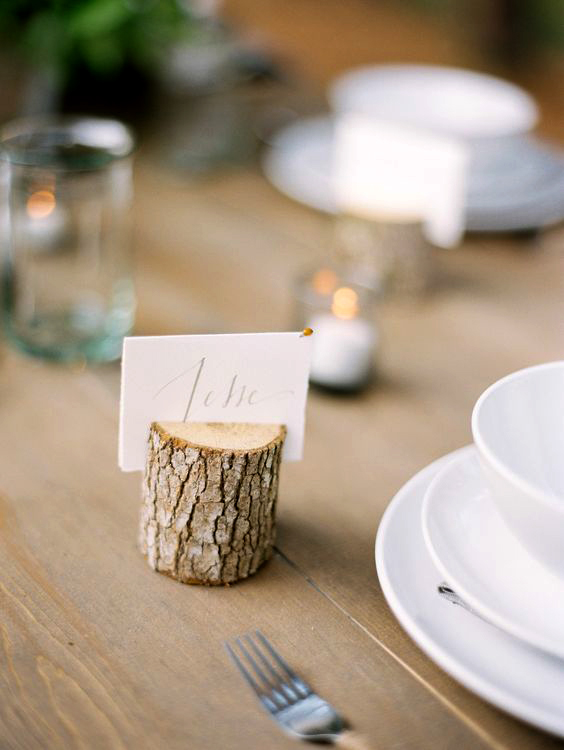 wood place card holder