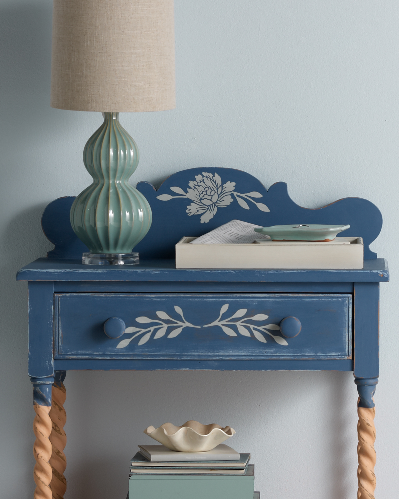 Stenciled Entryway Table