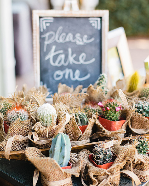 Throwing an event in the middle of the desert? Hand out adorable potted cacti, like these Dish Wishones.