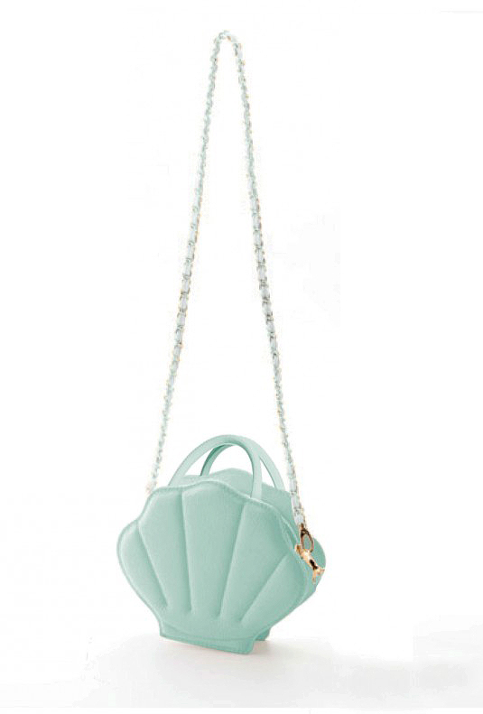 teal mermaid shell flower girl purse