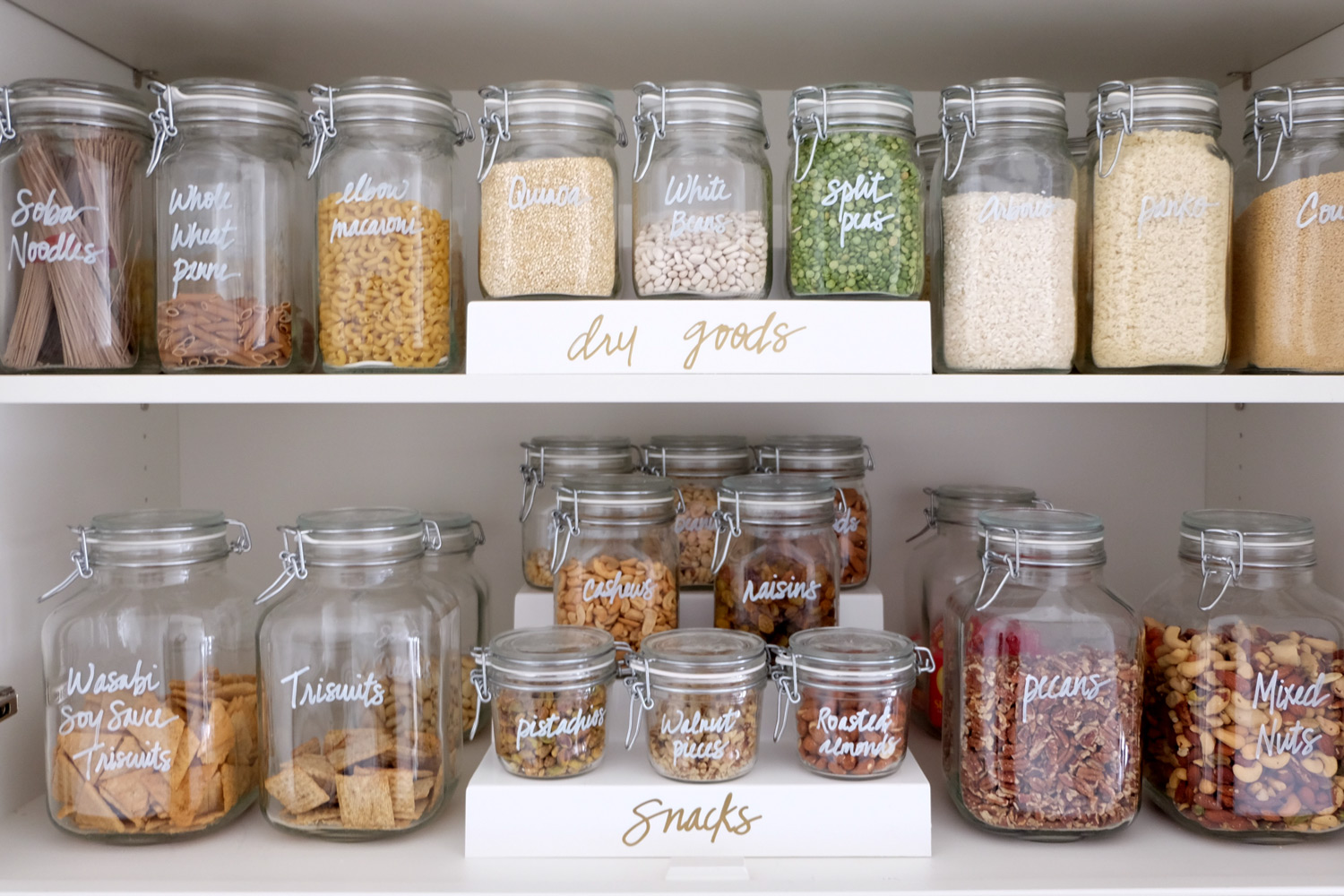 pantry organization canisters of dry goods and snacks
