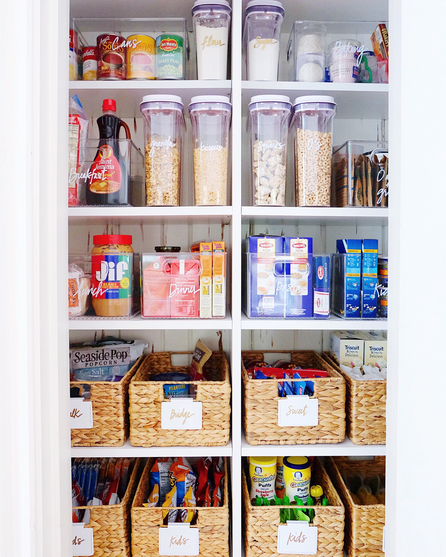 pantry organization baskets of snacks
