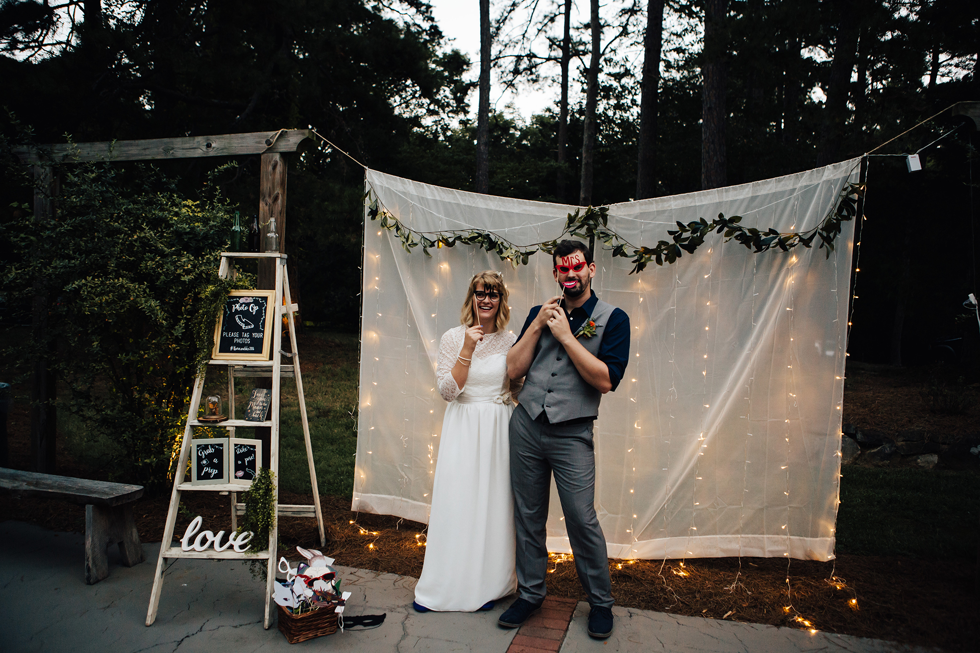 twinkle light photo booth with props