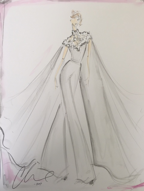 lauren morelli wedding dress sketch