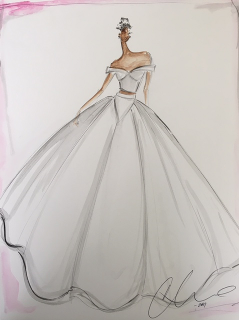 samira wiley wedding dress sketch