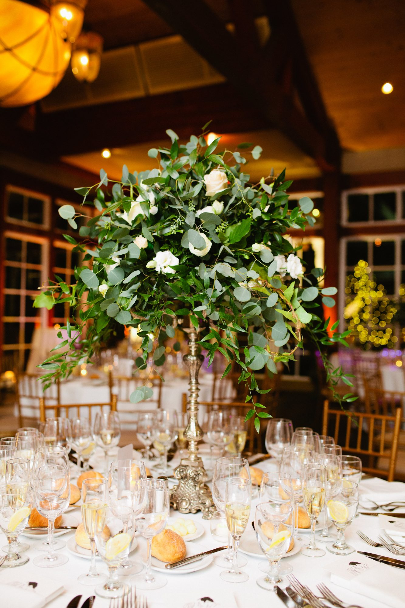 tall centerpiece with garden roses