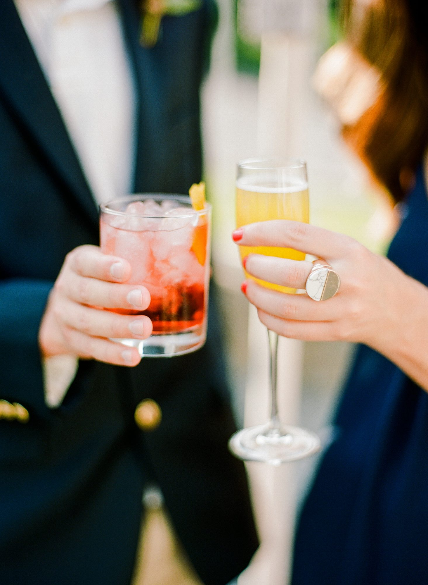 his and hers drinks cocktails rebecca yale bride groom wedding