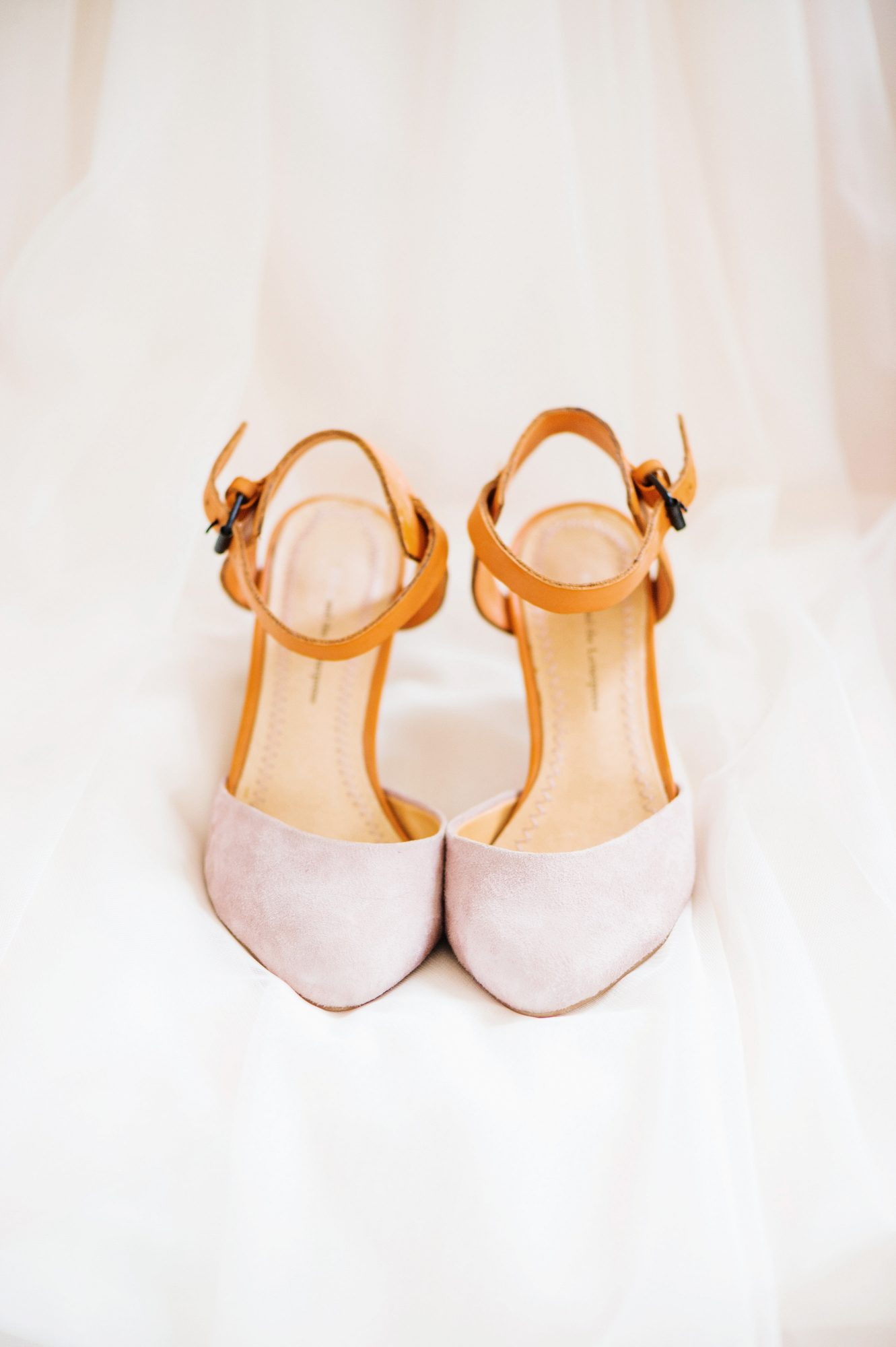 Pink and Leather Wedding Shoes