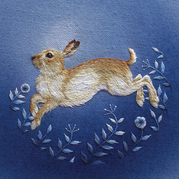 hare embroidery