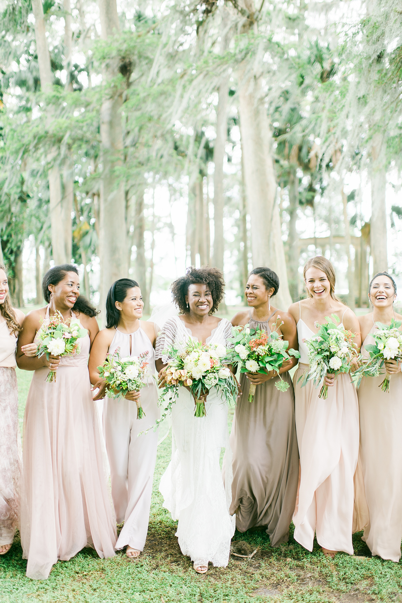 bridal party maid of honor in jumpsuit