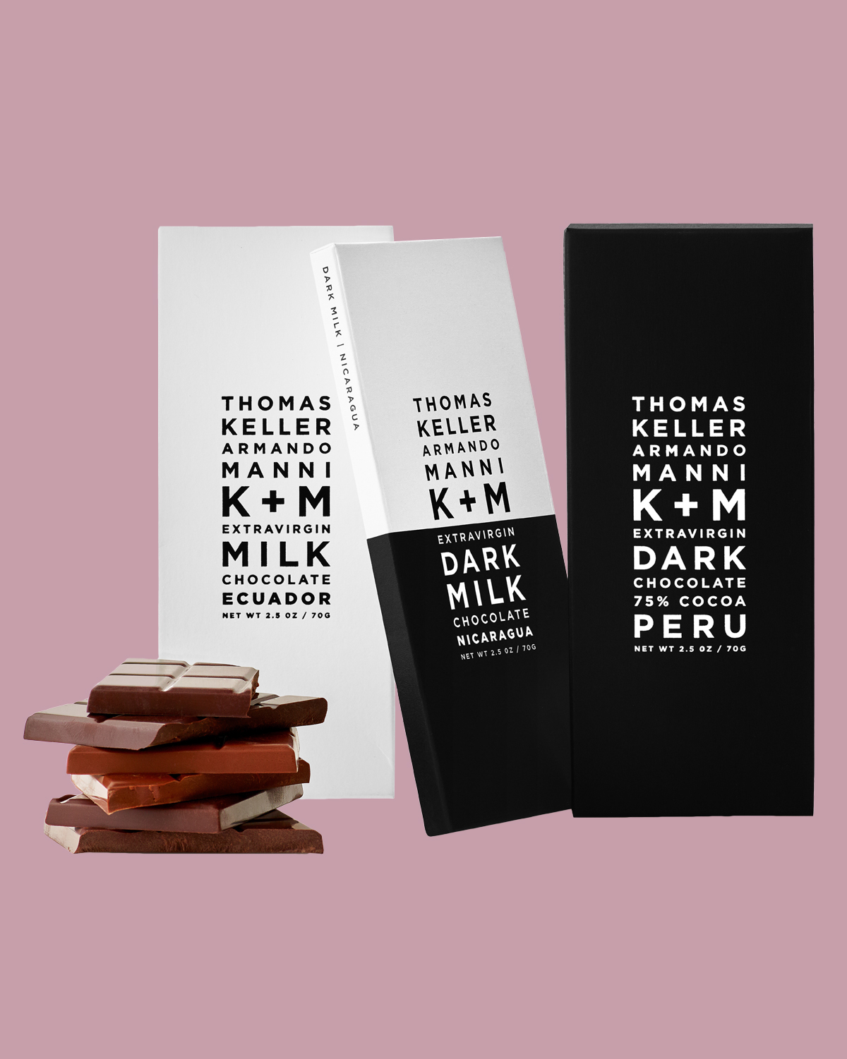 k and m milk and dark chocolate bars with black and white packaging