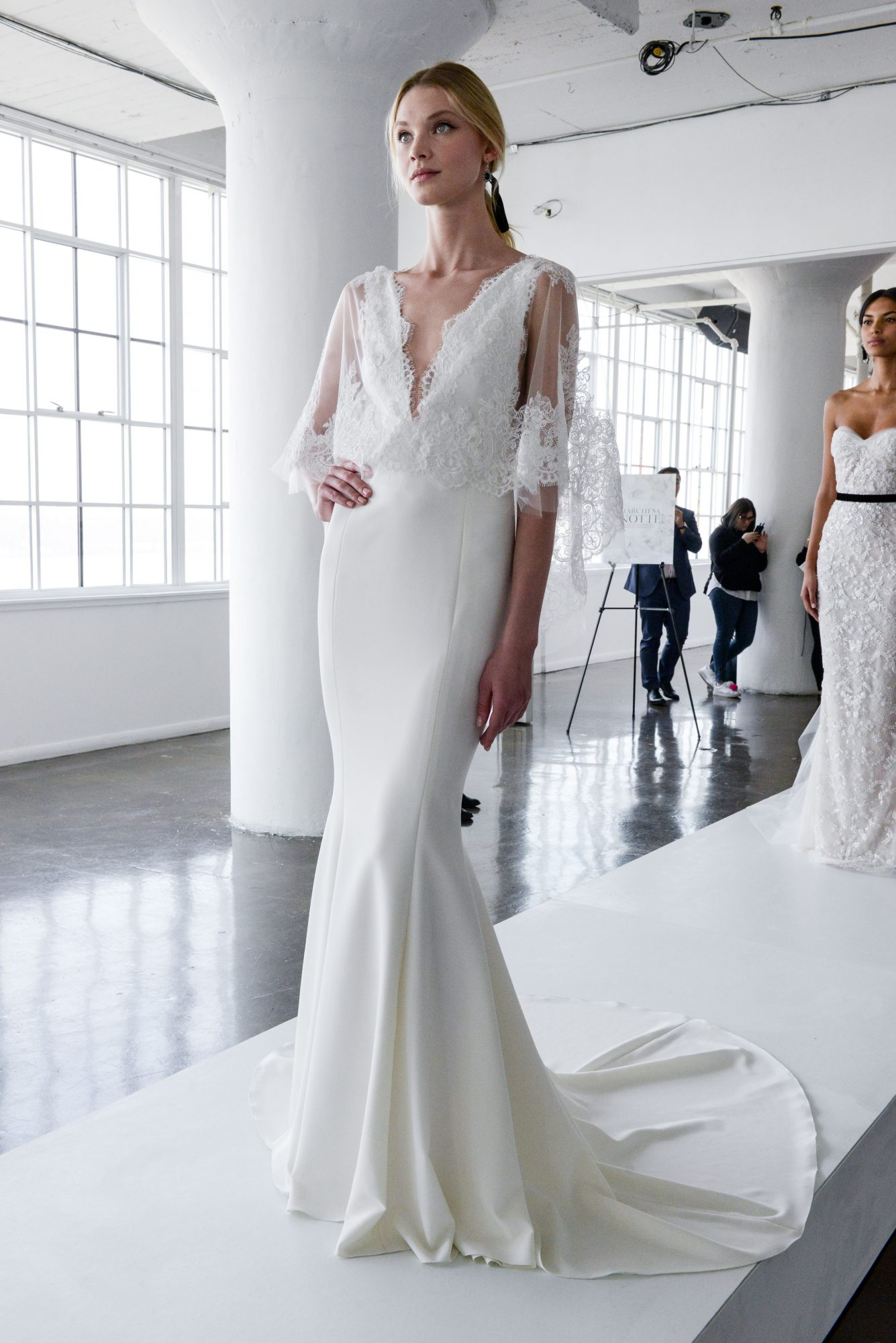 marchesa spring 2018 wedding dress with lace bodice and v-neckline