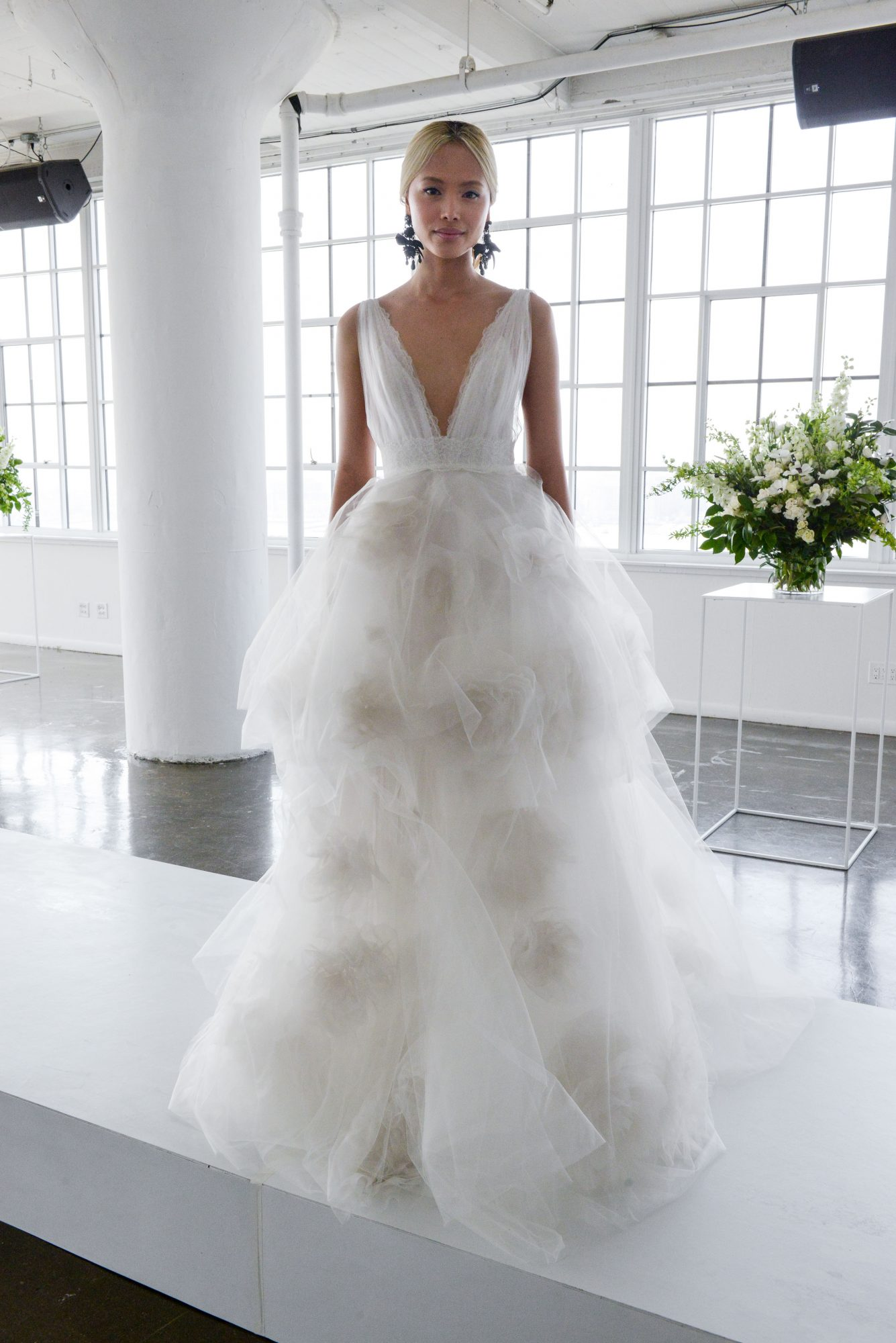 marchesa spring 2018 ball gown wedding dress with full skirt and v-neckline
