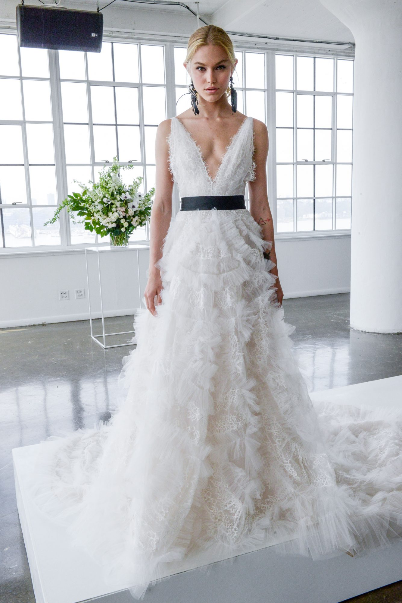 marchesa spring 2018 a-line wedding dress with ruffled skirt