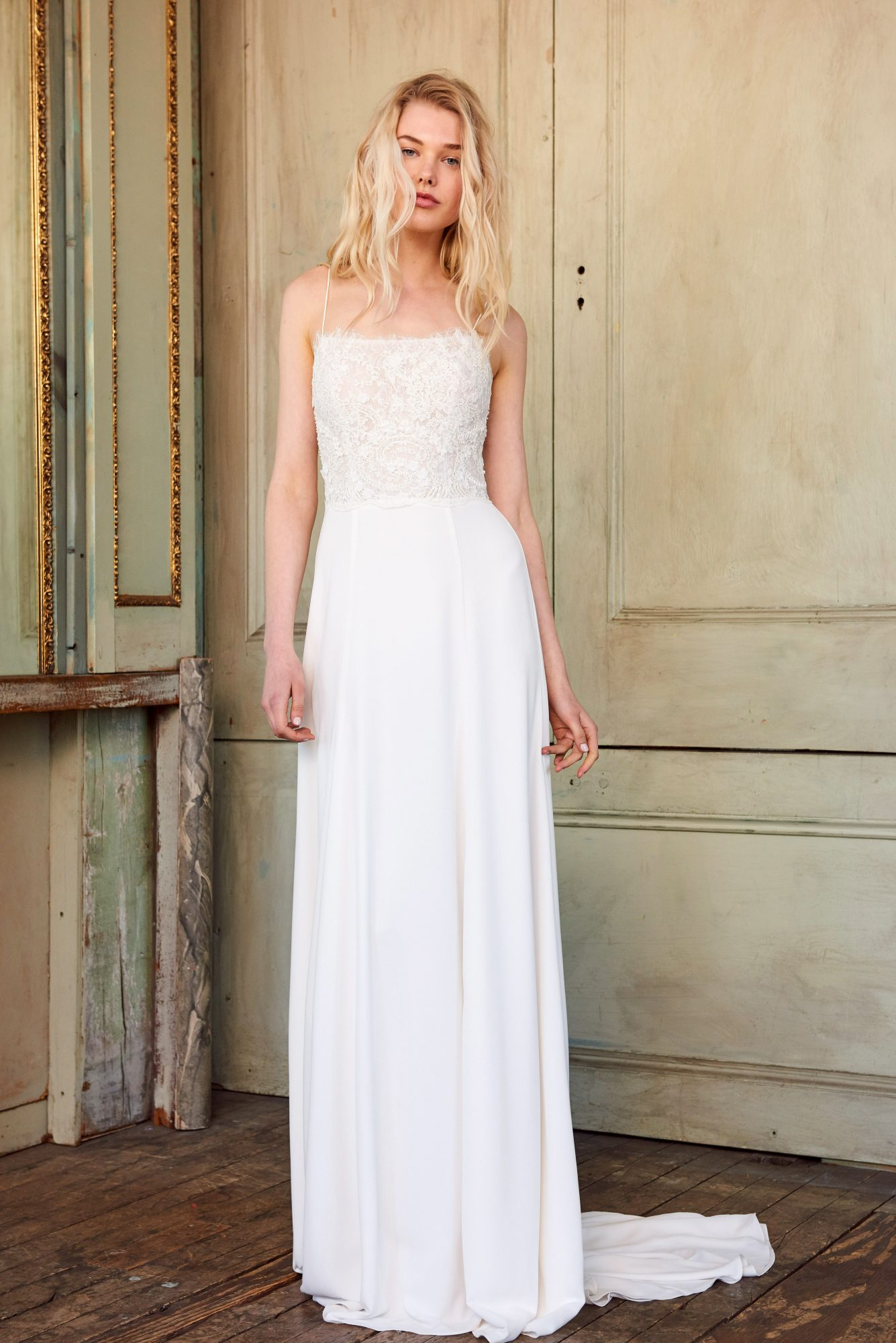 amsale christos spaghetti strap lace wedding dress spring 2018