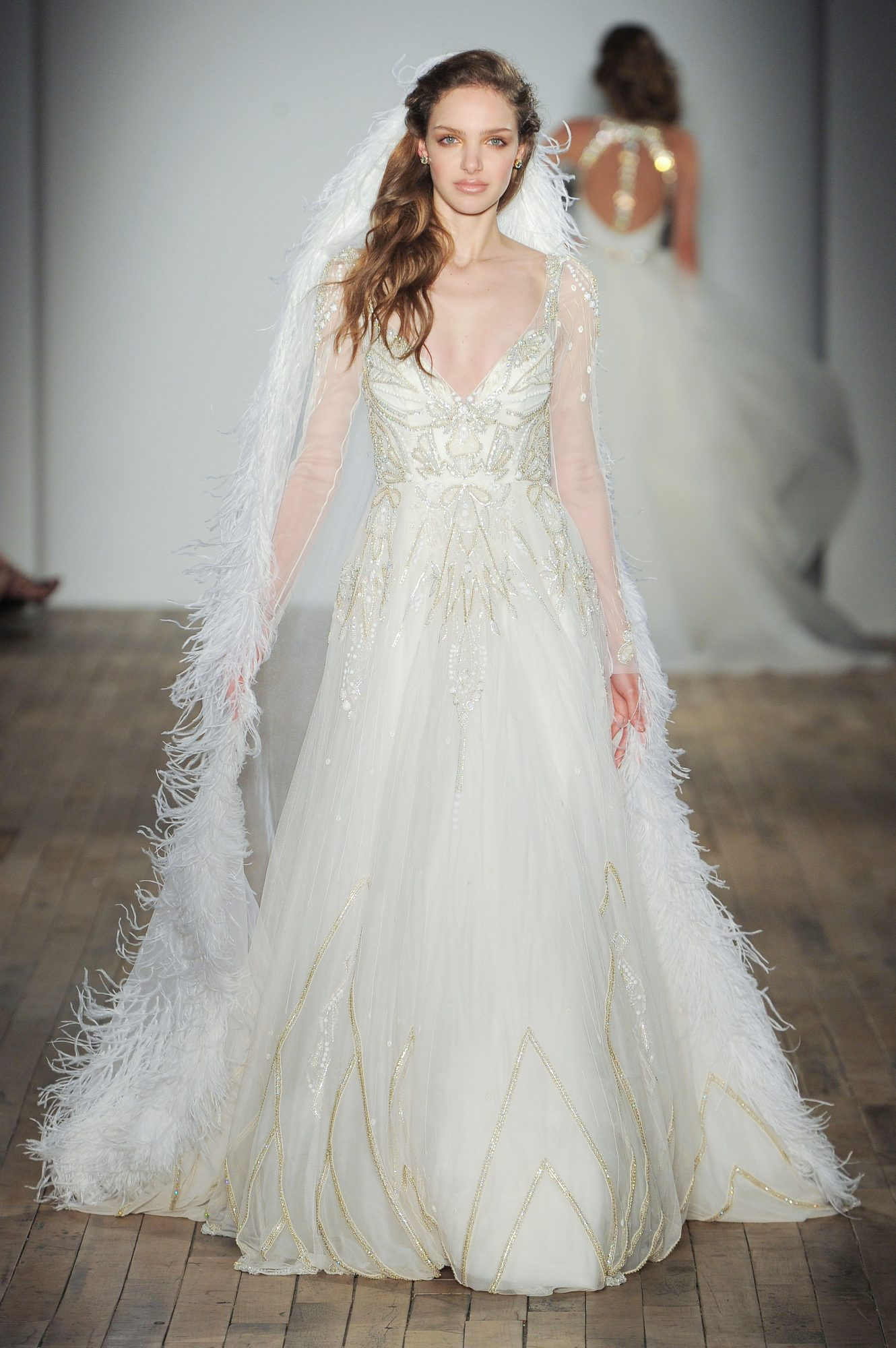 v-neck a-line Hayley Paige Spring 2018 Wedding Dress Collection