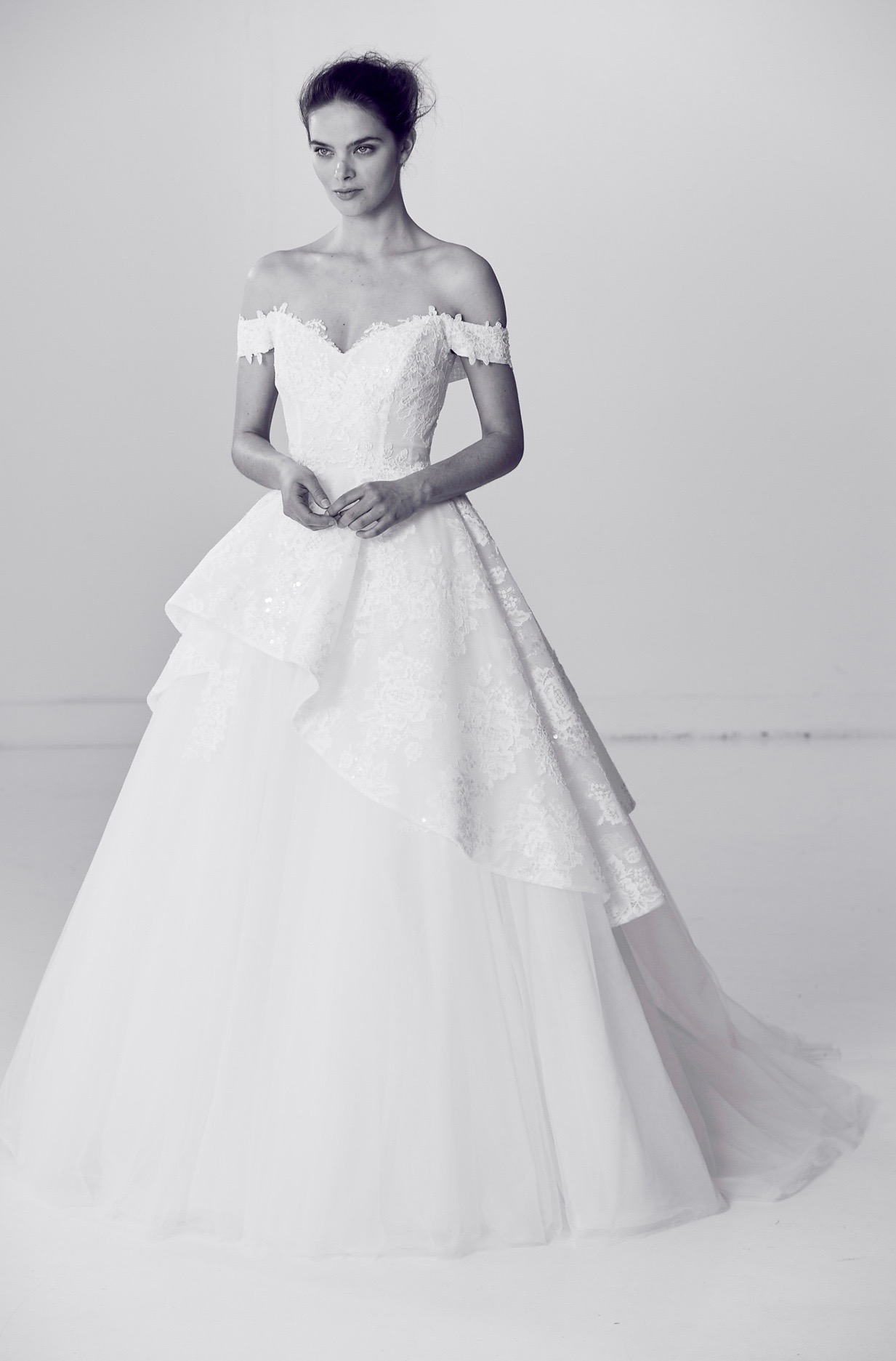 Off-the-Shoulder Alyne by Rita Vineries Ball Gown Wedding Dress Spring 2018