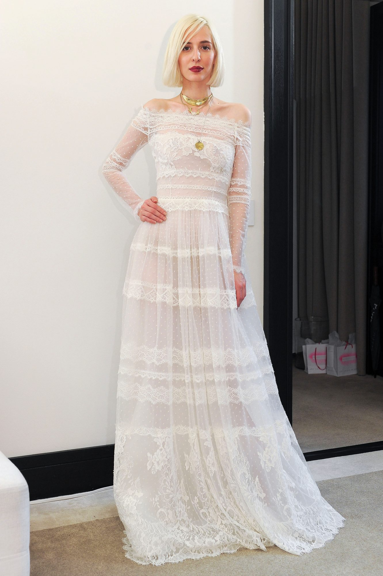costarellos lace off the shoulder long sleeves wedding dress spring 2018