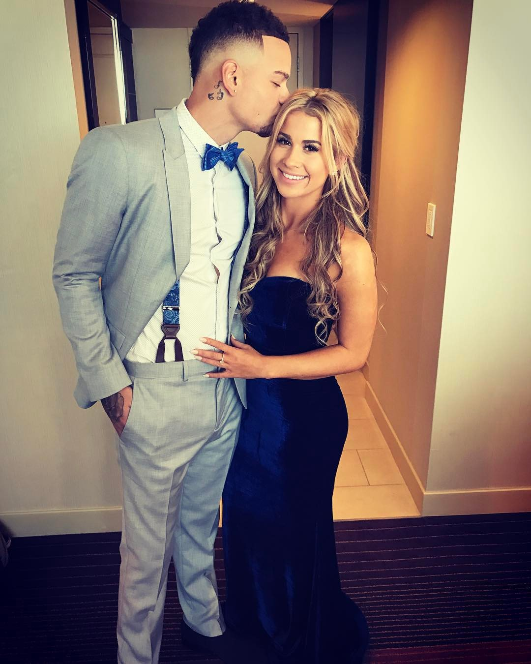 Country singer Kane Brown and fiancee Katelyn Jae before the ACM Awards