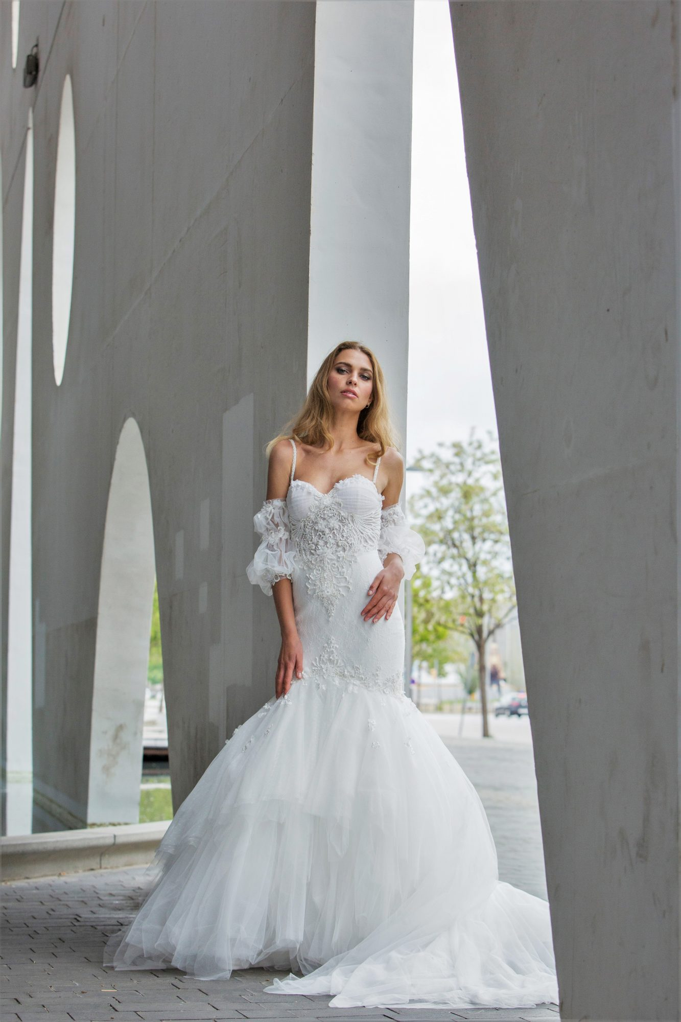 spaghetti strap with sweetheart neckline mermaid persy wedding dress spring2018