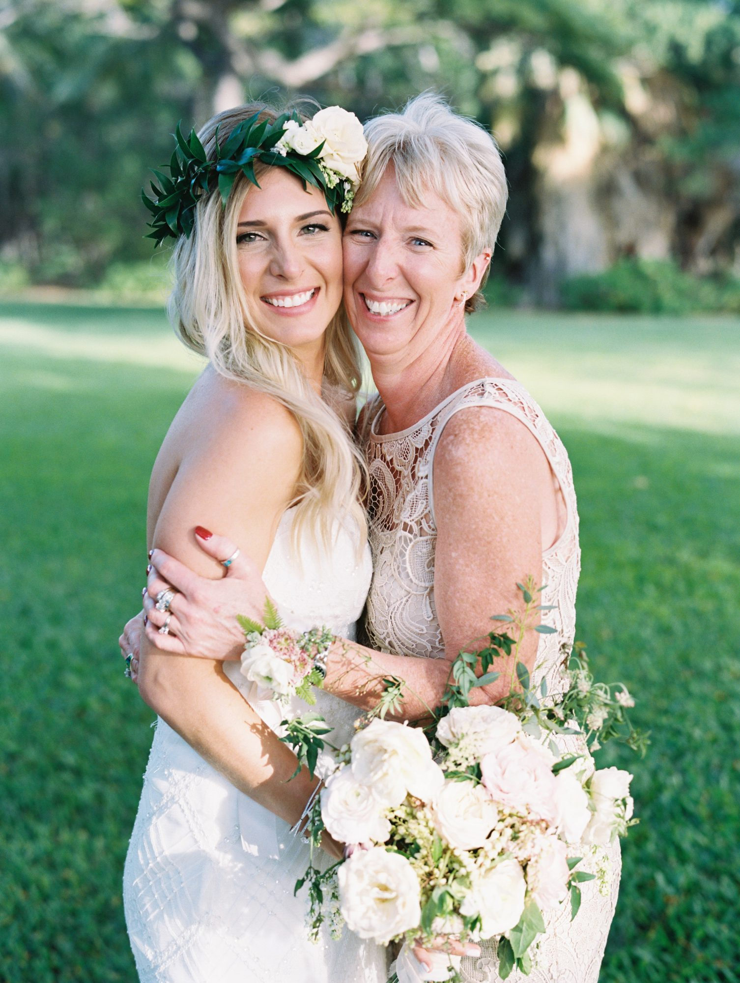 A Bride and Her Mom Hugging