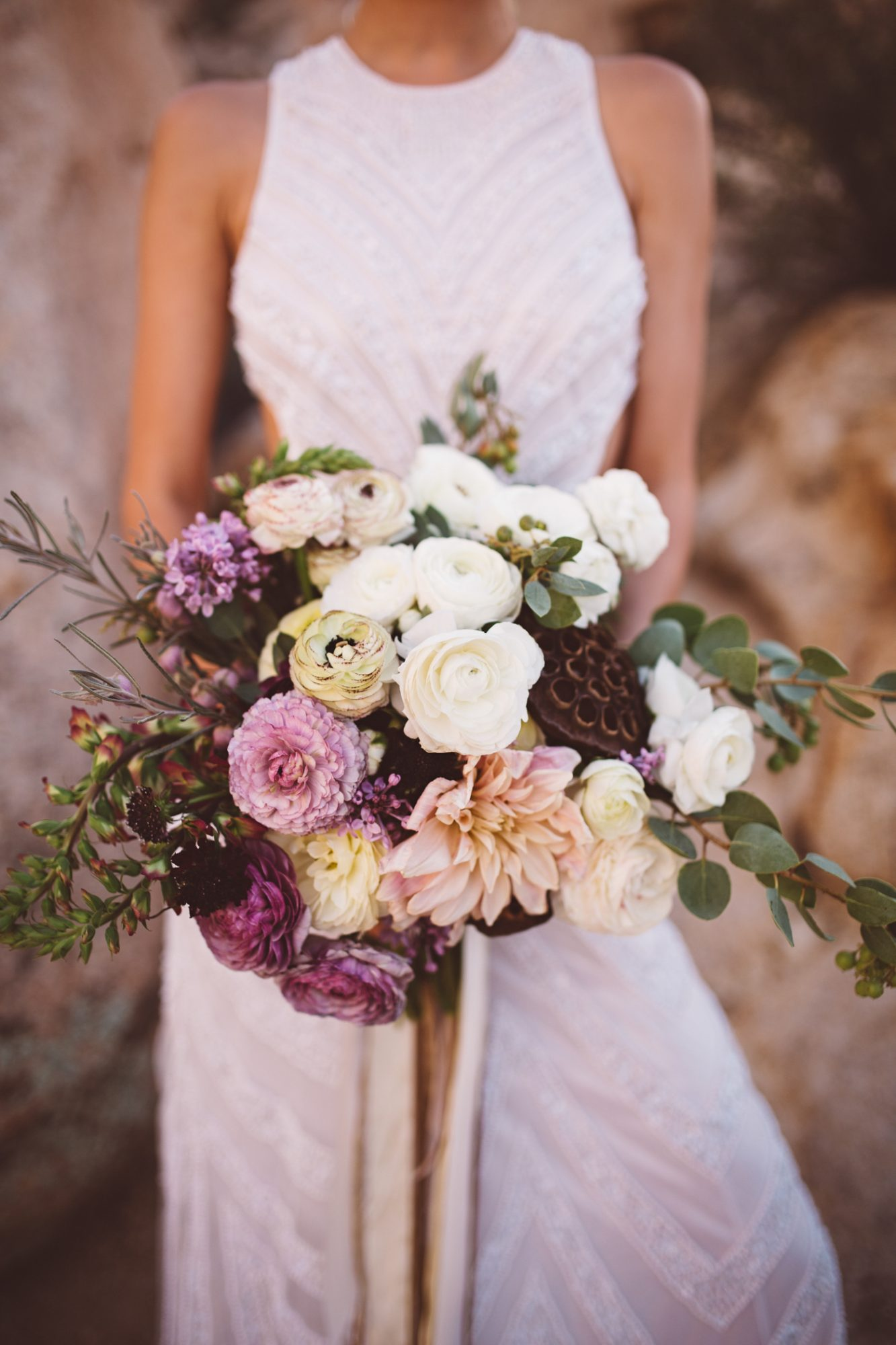 White, Purple, and Pink Lilac Bouquet