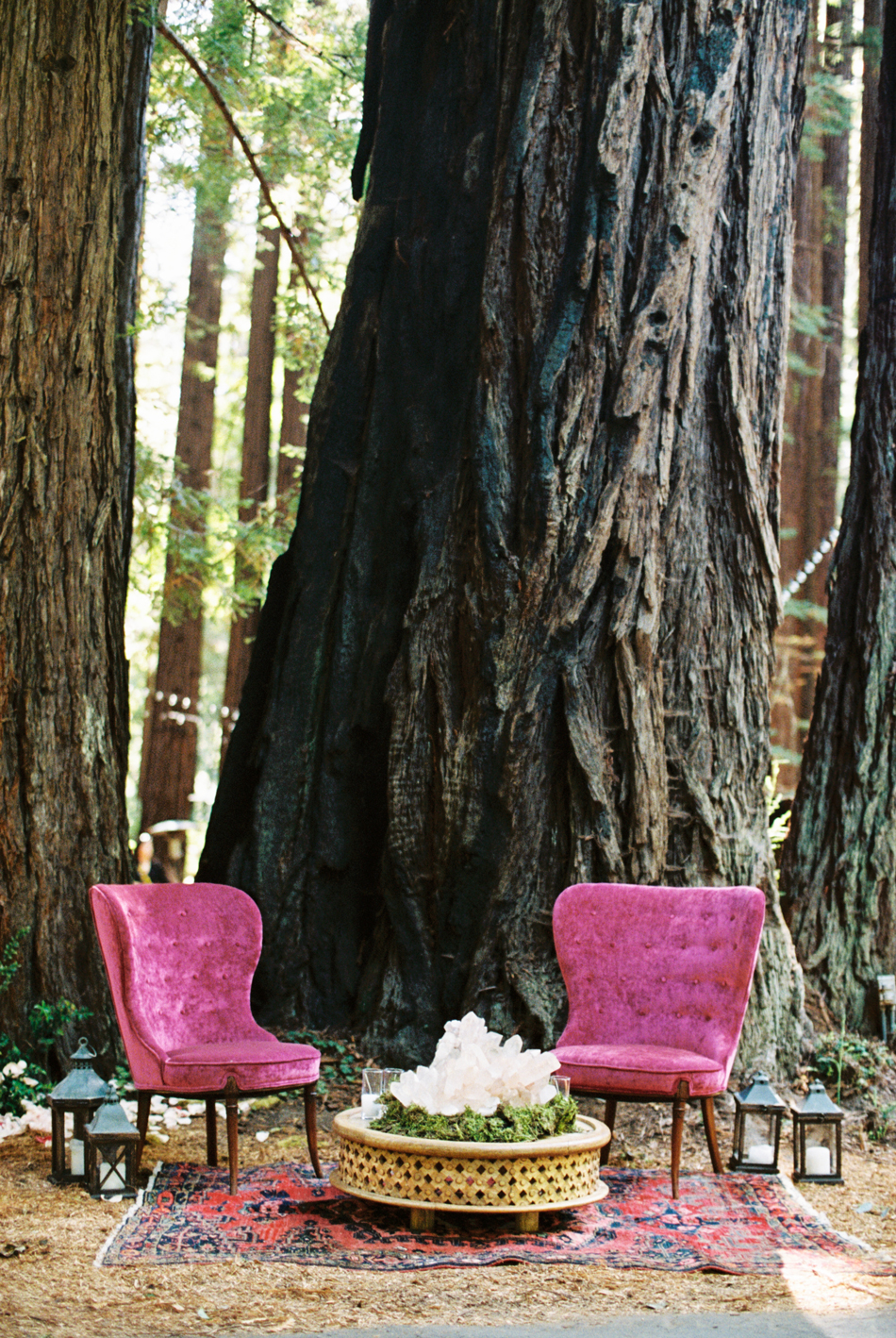 fuchsia chairs outdoor forest wedding lounge