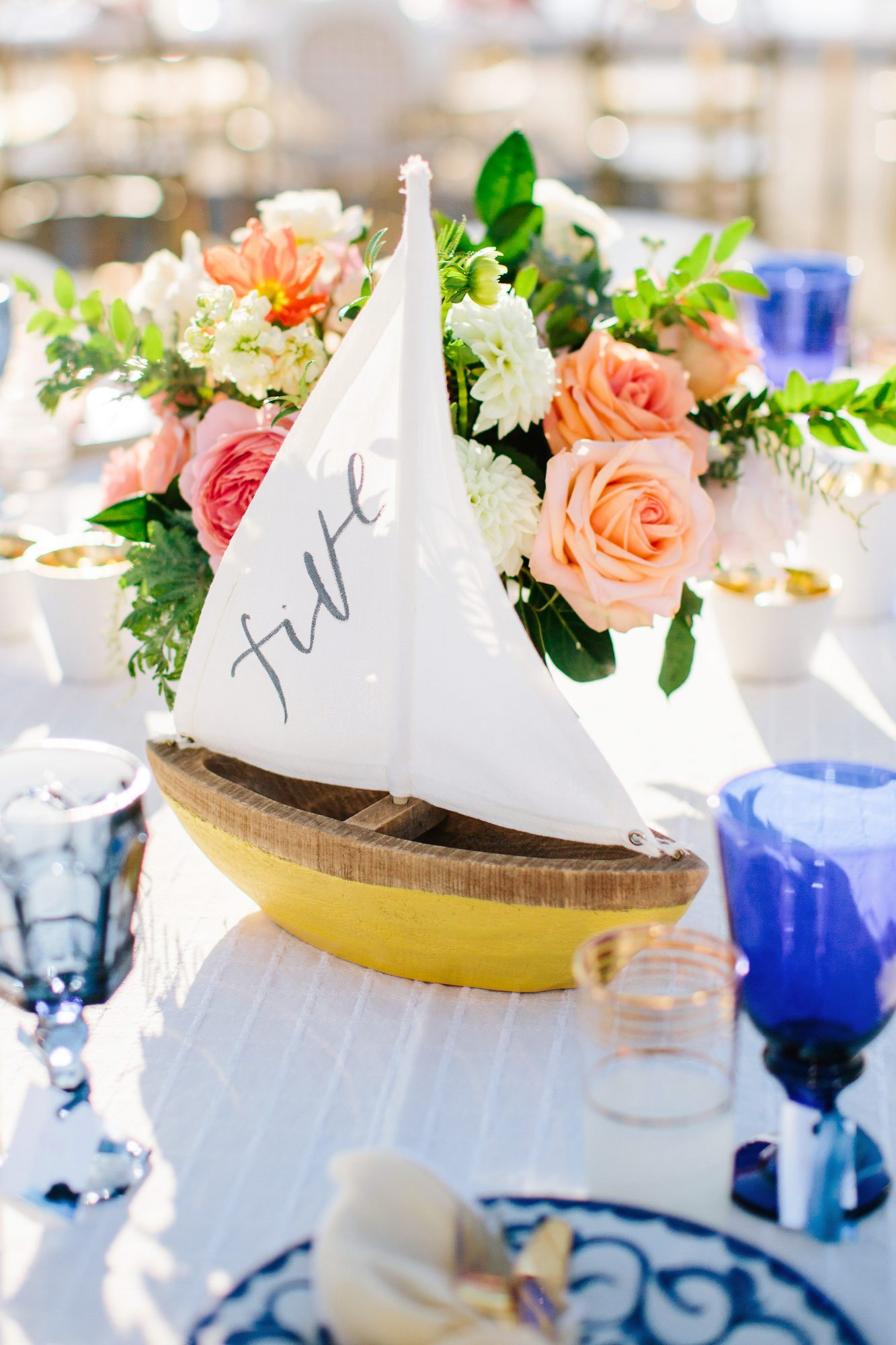 julie anthony real wedding table number sailboat